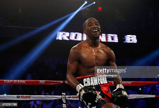 Terence Crawford celebrates after beating Thomas Dulorme of Puerto Rico in the sixth round in their WBO Jr Welterweight Title Bout on April 18 2015...