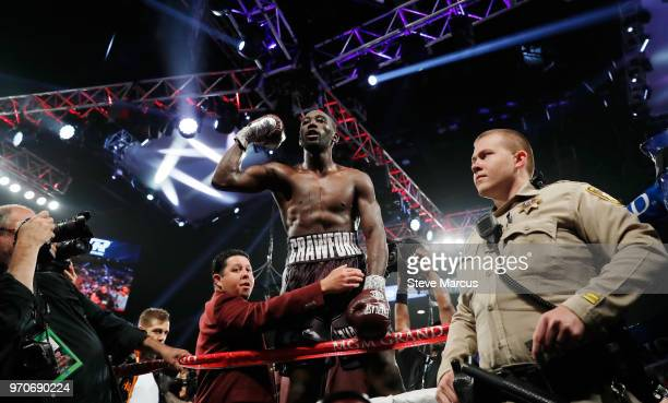 Terence Crawford celebrates his ninthround TKO victory over Jeff Horn in their WBO welterweight title fight at MGM Grand Garden Arena on June 9 2018...