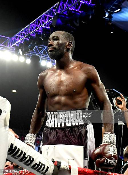 Terence Crawford celebrates his ninthround victory over Jeff Horn in their the WBO welterweight title fight at MGM Grand Garden Arena on June 9 2018...