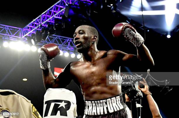 Terence Crawford celebrates his victory after a TKO in the 9th round in the WBO welterweight title between Jeff Horn and Terence Crawford at MGM...