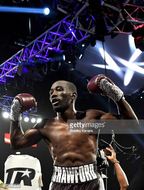 Terence Crawford celebrates his victory after a TKO in the ninth round during the WBO welterweight title between Jeff Horn and Terence Crawford at...