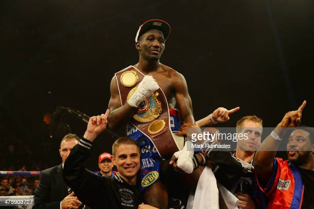 Terence Crawford celebrates his victory over Rick Burns during the WBO World Lightweight Championship Boxing match at the Glasgow SECC on March 1...