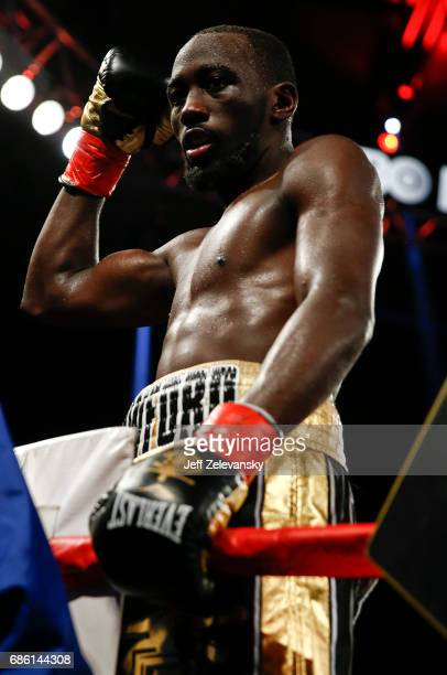 Terence Crawford celebrates his win over Felix Diaz during their WBO/WBC junior welterweight title bout at Madison Square Garden on May 20 2017 in...