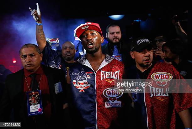 Terence Crawford enters the arena to take on Thomas Dulorme of Puerto Rico in their WBO Jr Welterweight Title Bout at College Park Centeron April 18...