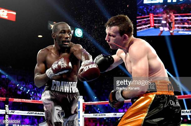 Terence Crawford lands a punch on Jeff Horn in the 9th round during their WBO welterweight title at MGM Grand Garden Arena on June 9 2018 in Las...