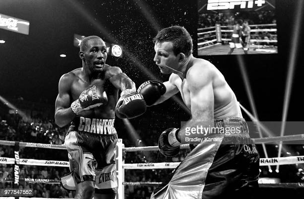 Terence Crawford lands a punch on Jeff Horn in their WBO welterweight title at MGM Grand Garden Arena on June 9 2018 in Las Vegas Nevada
