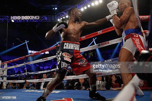 Terence Crawford lands a punch Thomas Dulorme of Puerto Rico in the sixth round in their WBO Jr Welterweight Title Bout on April 18 2015 in Arlington...
