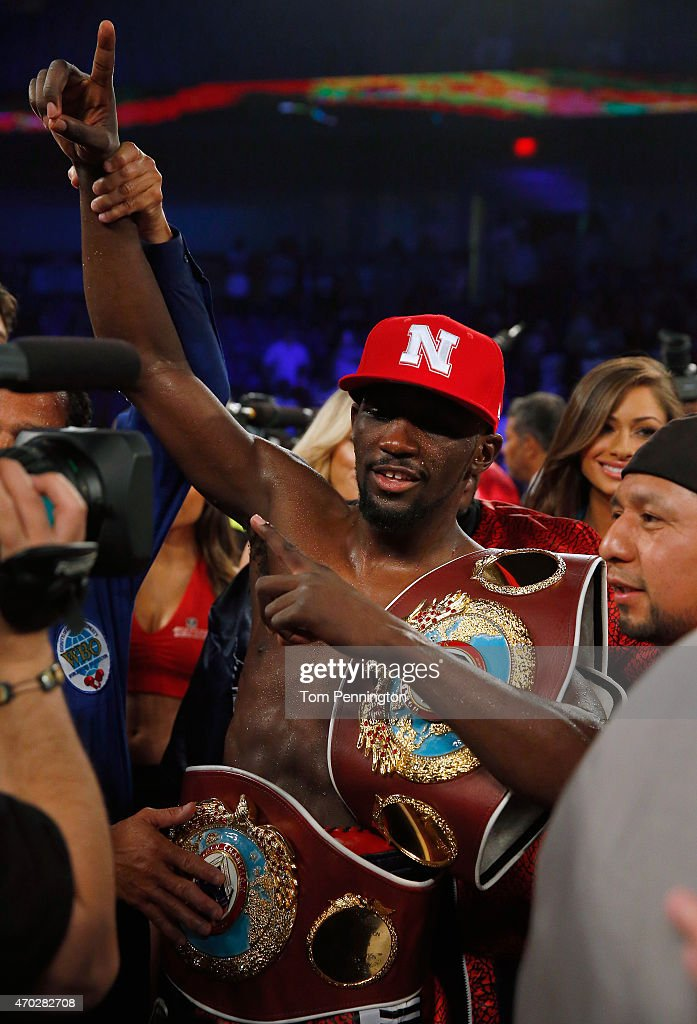 Terence Crawford lands celebrates after beating Thomas Dulorme of Puerto Rico in the sixth round in their WBO Jr. Welterweight Title Bout on April 18, 2015 in Arlington, Texas.