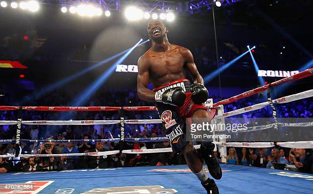 Terence Crawford lands celebrates after beating Thomas Dulorme of Puerto Rico in the sixth round in their WBO Jr Welterweight Title Bout on April 18...