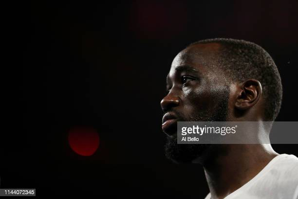 Terence Crawford looks on before his fight against Amir Khan during their WBO welterweight title fight at Madison Square Garden on April 20 2019 in...