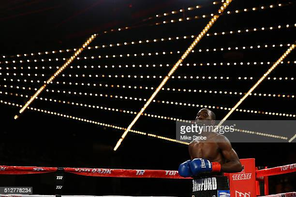 Terence Crawford looks on prior to his WBO World Championship bout against Henry Lundy at Madison Square Garden on February 27 2016 in New York City