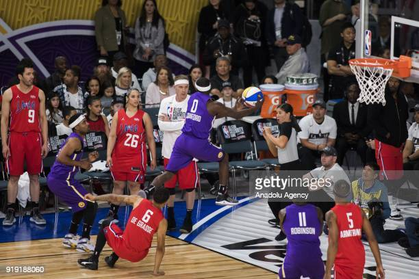 Terence Crawford of Team Lakers saves an outofbounds ball during the 2018 NBA AllStar Celebrity Game as part of AllStar Weekend at the Los Angeles...