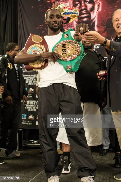 Terence Crawford poses during the weigh in at Madison Square Garden May 19 2017 in New York City Terence Crawford and Felix Diaz will fight May 20...