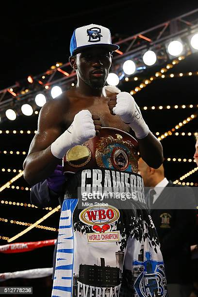 Terence Crawford poses for a photo after defeating Henry Lundy to retain the WBO World Championship at Madison Square Garden on February 27 2016 in...