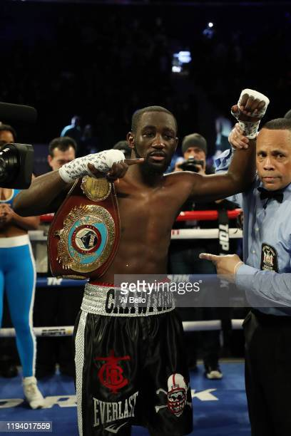 Terence Crawford poses with the belt after his tko9 win against Egidijus Kavaliauskas during their bout for Crawford's WBO welterweight title at...