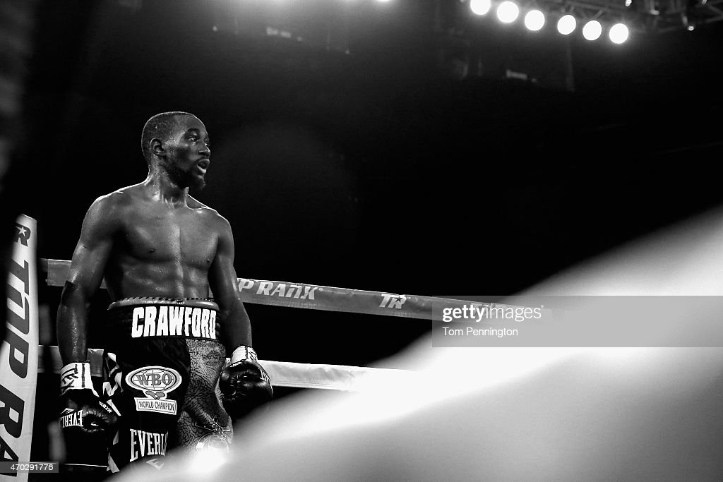 Terence Crawford reacts after beating Thomas Dulorme of Puerto Rico in the sixth round in their WBO Jr. Welterweight Title Bout on April 18, 2015 at College Park Center in Arlington, Texas.
