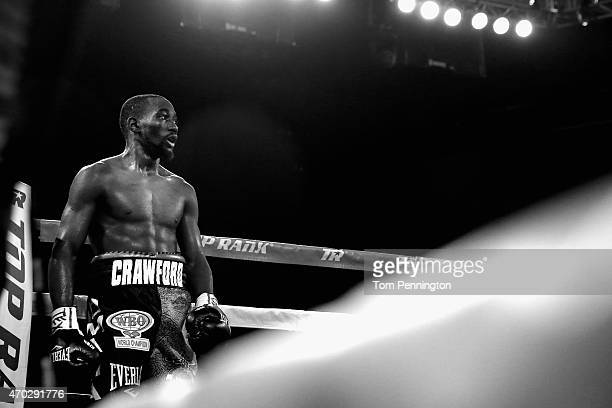 Terence Crawford reacts after beating Thomas Dulorme of Puerto Rico in the sixth round in their WBO Jr Welterweight Title Bout on April 18 2015 at...