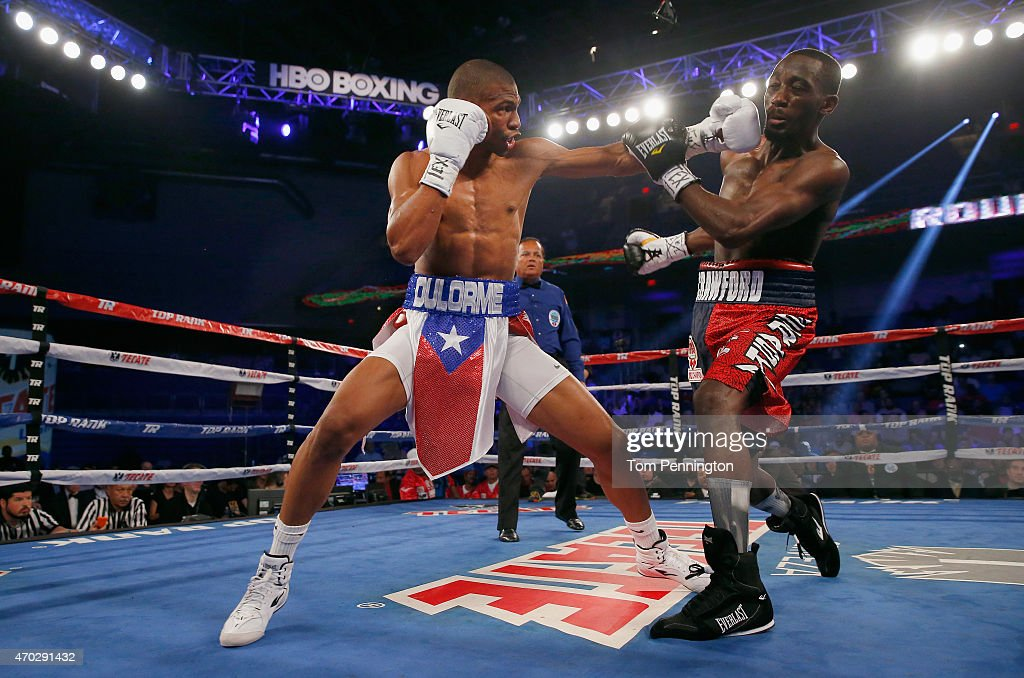 Terence Crawford takes on Thomas Dulorme of Puerto Rico in the first round in their WBO Jr. Welterweight Title Bout at College Park Center on April 18, 2015 in Arlington, Texas.