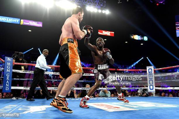 Terence Crawford throws a punch during the WBO welterweight title between Jeff Horn and Terence Crawford at MGM Grand Garden Arena on June 9 2018 in...