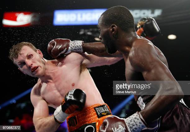 Terence Crawford throws a right at Jeff Horn in the eighth round of their WBO welterweight title fight at MGM Grand Garden Arena on June 9 2018 in...