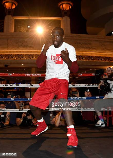 Terence Crawford trains during the open media day workouts at the MGM Grand on June 6 2018 in Las Vegas Nevada USA