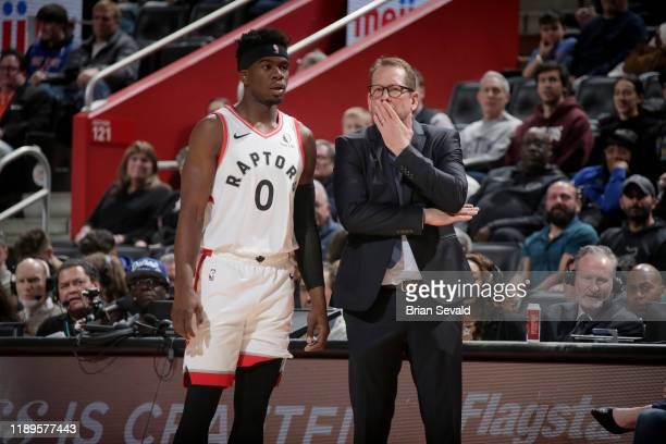 Terence Davis and Head Coach Nick Nurse of the Toronto Raptors talk to each other during the game against the Detroit Pistons on December 18 2019 at...