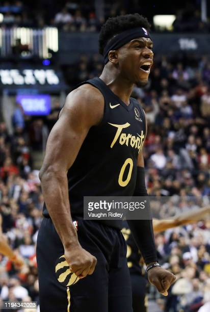 Terence Davis II of the Toronto Raptors reacts during the second half of an NBA game against the Washington Wizards at Scotiabank Arena on January 17...