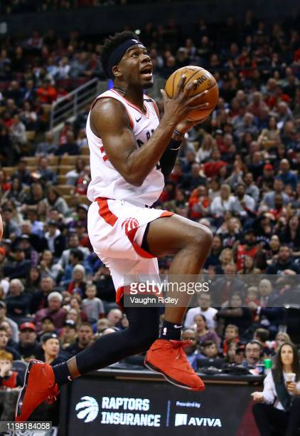 Terence Davis II of the Toronto Raptors shoots the ball during the second half of an NBA game against the Chicago Bulls at Scotiabank Arena on...