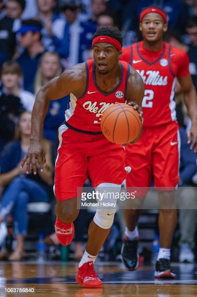 Terence Davis of the Mississippi Rebels brings the ball up court during the game against the Butler Bulldogs at Hinkle Fieldhouse on November 16 2018...