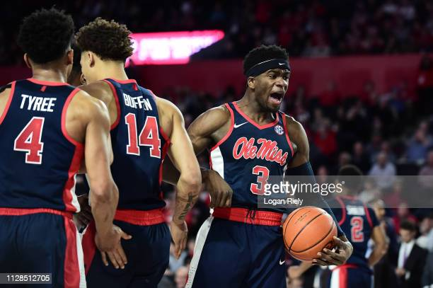 Terence Davis of the Mississippi Rebels celebrates after a play against the Georgia Bulldogs at Stegeman Coliseum on February 09 2019 in Athens...