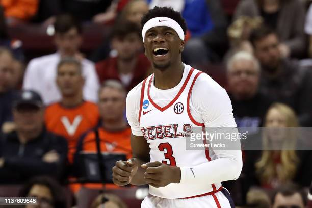 Terence Davis of the Mississippi Rebels reacts in the second half against the Oklahoma Sooners during the first round of the 2019 NCAA Men's...