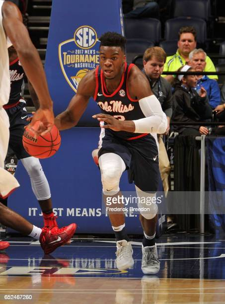 Terence Davis of the Ole Miss Rebels plays in the SEC Quarterfinals at Bridgestone Arena on March 10 2017 in Nashville Tennessee