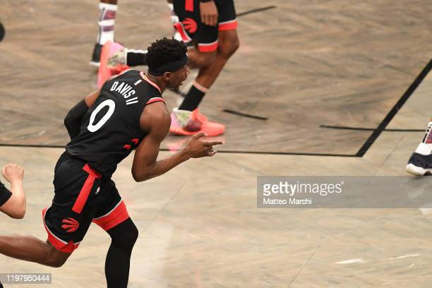 Terence Davis of the Toronto Raptors celebrates during the game against the Brooklyn Nets at Barclays Center on January 4 2020 in New York City NOTE...