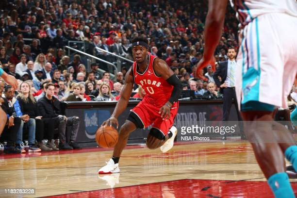Terence Davis of the Toronto Raptors drives to the basket against the Charlotte Hornets on November 18 2019 at the Scotiabank Arena in Toronto...