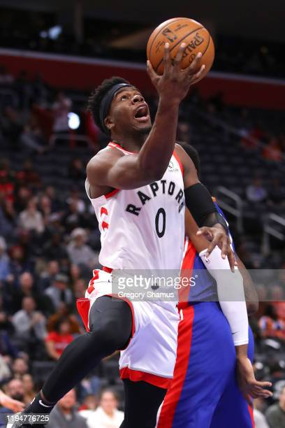 Terence Davis of the Toronto Raptors drives to the basket against the Detroit Pistons during the first half at Little Caesars Arena on December 18...