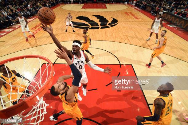 Terence Davis of the Toronto Raptors drives to the basket during a game against the Utah Jazz on December 1 2019 at the Scotiabank Arena in Toronto...