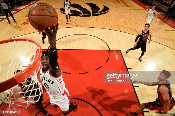 Terence Davis of the Toronto Raptors drives to the basket during a game against the Chicago Bulls on February 2 2020 at the Scotiabank Arena in...