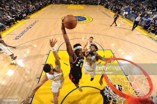 Terence Davis of the Toronto Raptors dunks the ball against the Golden State Warriors on March 5 2020 at Chase Center in San Francisco California...