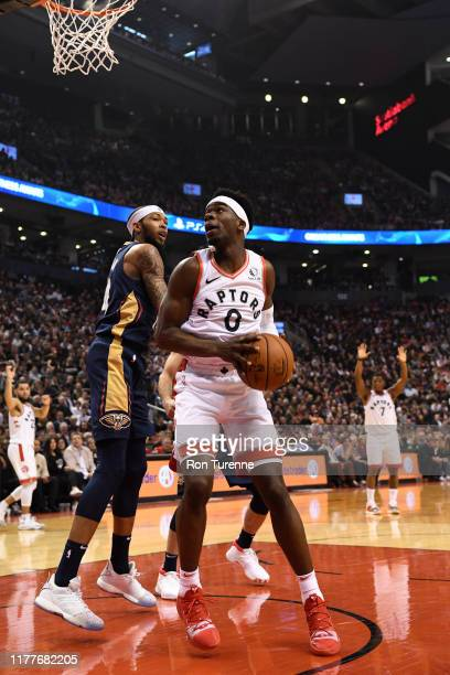 Terence Davis of the Toronto Raptors handles the ball against the New Orleans Pelicans on October 22 2019 at the Scotiabank Arena in Toronto Ontario...