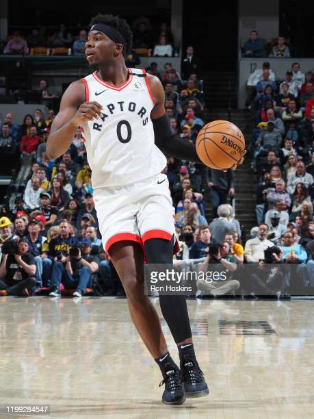 Terence Davis of the Toronto Raptors handles the ball against the Indiana Pacers on FEBRUARY 7 2020 at Bankers Life Fieldhouse in Indianapolis...