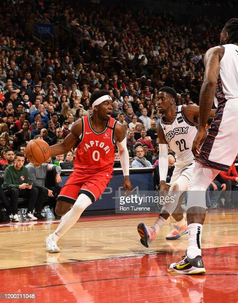 Terence Davis of the Toronto Raptors handles the ball against the Brooklyn Nets on February 8 2020 at the Scotiabank Arena in Toronto Ontario Canada...