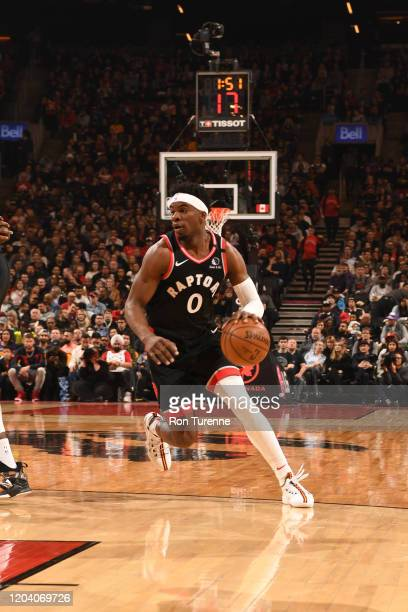 Terence Davis of the Toronto Raptors handles the ball against the Charlotte Hornets on February 28 2020 at the Scotiabank Arena in Toronto Ontario...