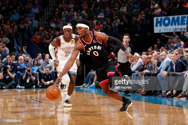 Terence Davis of the Toronto Raptors handles the ball during the game against the Oklahoma City Thunder on January 15 2020 at Chesapeake Energy Arena...