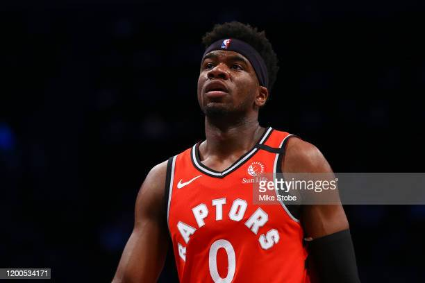 Terence Davis of the Toronto Raptors in action against the Brooklyn Nets at Barclays Center on February 12 2020 in New York CityBrooklyn Nets...