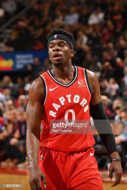Terence Davis of the Toronto Raptors looks on during the game against the Charlotte Hornets on November 18 2019 at the Scotiabank Arena in Toronto...