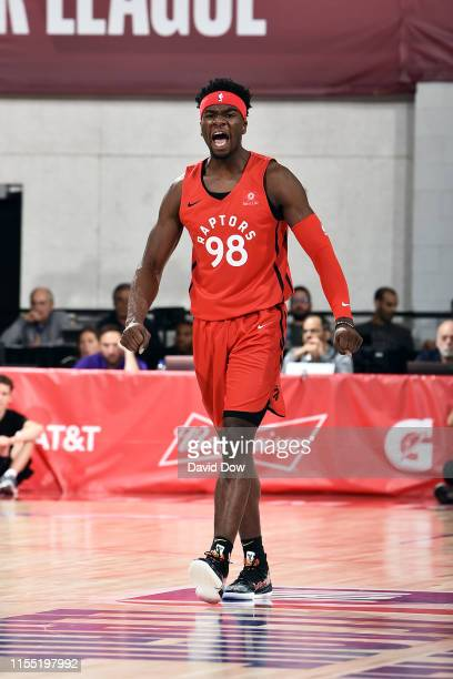 Terence Davis of the Toronto Raptors reacts to a play during the game against the Indiana Pacers during Day 7 of the 2019 Las Vegas Summer League on...