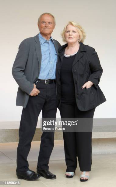"Terence Hill and Katia Ricciarelli attend the ""Un Passo Dal Cielo"" photocall at Auditorium Ara Pacis on April 8, 2011 in Rome, Italy."