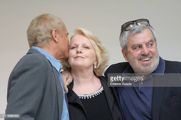 "Terence Hill, Katia Ricciarelli and Enrico Oldoini attend the ""Un Passo Dal Cielo"" photocall at Auditorium Ara Pacis on April 8, 2011 in Rome, Italy."