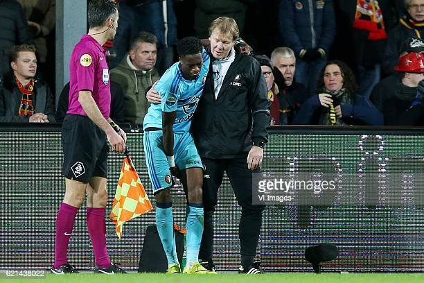 Terence Kongolo injuryduring the Dutch Eredivisie match between Go Ahead Eagles and Feyenoord at The Adelaarshorst on November 06 2016 in Deventer...