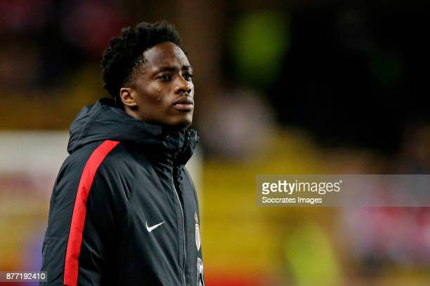 Terence Kongolo of AS Monaco during the UEFA Champions League match between AS Monaco v RB Leipzig at the Stade Louis II on November 21 2017 in...